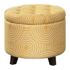 Lexicon Cleo Wood Storage Ottoman, Yellow