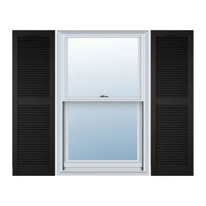 """14 1/2"""" x 48"""" Lifetime Vinyl Cathedral 2-Equal Louver Shutters, Black"""
