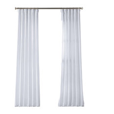 "French Linen Curtain Single Panel, Crisp White, 50""x84"""