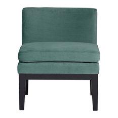 Studio Designs Home Cornice Contemporary Slipper Chair, Green Teal