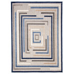 """ECARPETGALLERY - ECARPETGALLERY Modern Area Rug 5'3"""" x 7'3"""" Blue, Tia - The Tia outdoor/indoor area rug collection in this stunning geometric design, embodying timeless traditions while maintaining the fabulous and fashionable elements of trend worthy design, will effortlessly cement itself in your decor space be it in your living room, dining room, guest room, or home office and patio too. The meticulously woven construction of this piece boasts durability and will provide natural charm into your decor space. Soft polypropylene in construction, stain and fade resistant, making this area rug perfect for family life and use in high-traffic areas."""