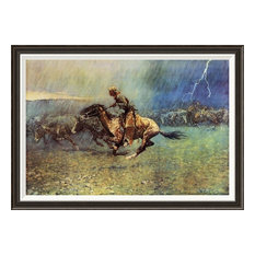 """""""The Stampede"""" Framed Canvas Giclee by Frederic Remington, 41x29"""""""