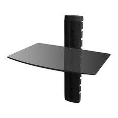 VidaXL 1-Tier Wall Mounted Glass DVD Shelf, Black