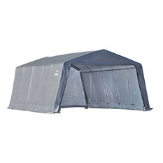 "12'x20'x8' Peak Style Shelter, 1-3/8"" 6-Rib Frame, Gray Cover"