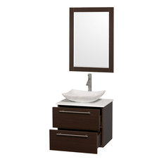 "Amare 24"" Single Vanity, Espresso, White Man-Made Stone Top, Sink and 24"" Mirror"