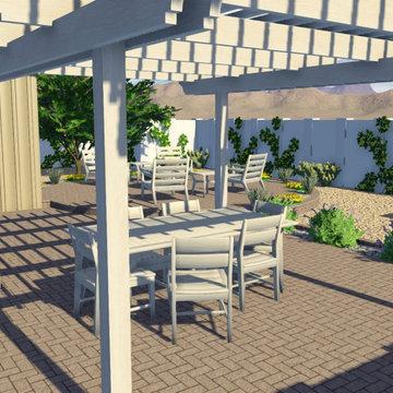 Backyard Living in Scottsdale with Desert Planters