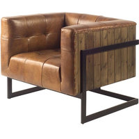 Club Chair MANSBRIDGE Faux Leather Metal New