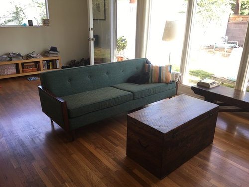 There is an island with stools and I\u0027d like to keep the windows mostly clear for the light. Budget is tight though we prefer natural materials. & Help! designing a room around this couch...