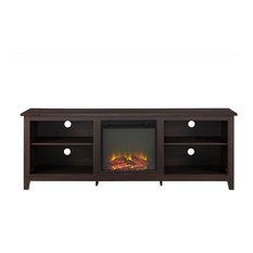 "70"" Fireplace TV Stand, Espresso"