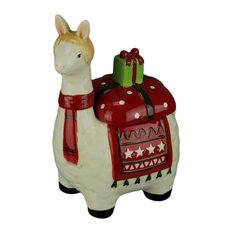 White and Red Ceramic Holly Holiday Llama Cookie Jar