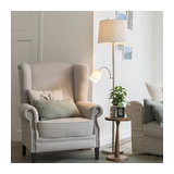 Classic Floor Lamp with Reading Arm Steel with White Shades - Retro