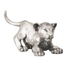 Silver Lion Cub Playing Sculpture A58