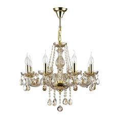 MAYTONI DECORATIVE LIGHTING - Diamant Crystal Brandy Candelabra Chandelier, 8 Lights - Chandeliers