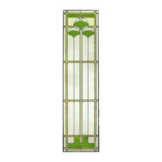 """Arts and Crafts Tall Ginkgo Stained Glass Panel, 35.5"""""""