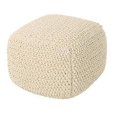 GDF Studio Knox Knitted Cotton Pouf, Beige