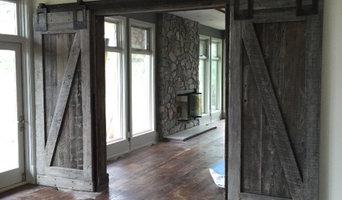 Priddis Home - Mid Century French Barn Wood Doors