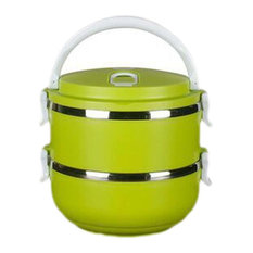 Stainless Steel 2 Layers Lunch Box Tableware Students Portable Pot, Green