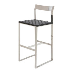 Camille Leather Stool Black Counter Height