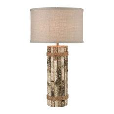 Natural Birch Bark Table Lamp Made Of Natural Rope/Tree Bark With A Grey Burlap