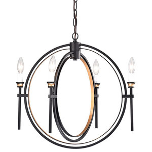 4-Light Black and Bronze Double Hoop Globe Chandelier
