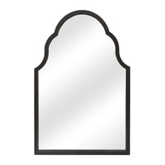 "Majorelle Dark Brown Arched Wall Mirror, 36""x25"""