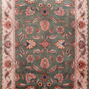 Unique Blossom Flowers Green Ivory Tibetan Hand-Knotted Rug 9'x12'