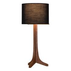 Nauta Table Lamp, Brushed Brass, Walnut, Shade: Black Amaretto