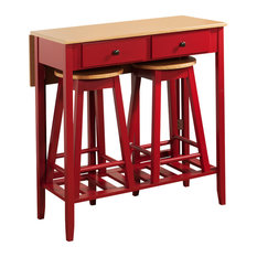 3-Piece Red and Natural Wood Kitchen Dinette Breakfast Bar Pub Set