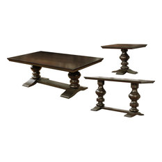 Traditional Cappuccino 3-Piece Coffee End And Console Table Set
