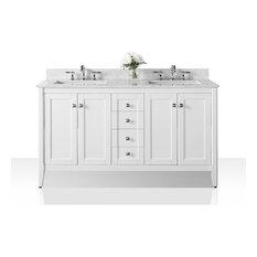 """Shelton Bath Vanity Set, White, 60"""", Top: Carrara White Marble, Without Mirror"""