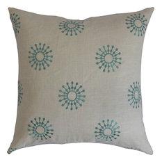 "Irece Floral, Down Feather Filler Pillow, Aqua, 20""x20"""