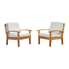 GDFStudio - Preston Outdoor Wooden Club Chairs, Beige, Set of 2 - Outdoor Lounge Chairs