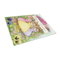 Three Bunnies Happy Easter Glass Cutting Board, Large