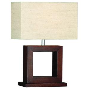 Cosmopolitan Dark Wood Square Table Lamp With Shade