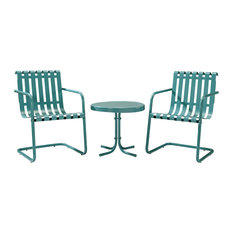 Gracie 3-Piece Metal Outdoor Conversation Seating Set, Caribbean Blue