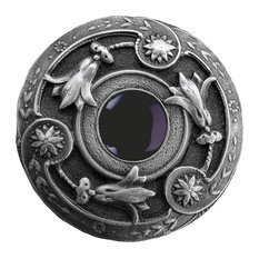 Jeweled Lily Knob Antique Pewter/Onyx natural stone