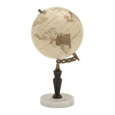 "Wood Metal Marble Globe, 8""x16"""