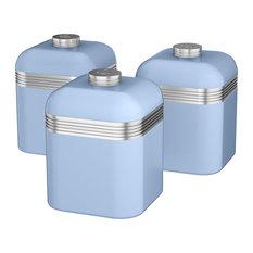 Retro Kitchen Jars, Blue, Set of 3