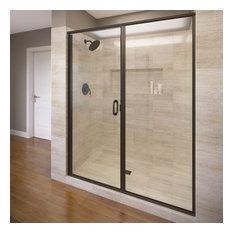 "Basco Shower Enclosures - Infinity Semi-Frameless Swing Shower Door, 46-47"", Clear, Oil Rubbed Bronze - Shower Doors"