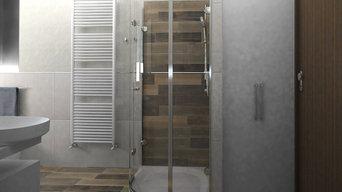 Box doccia ad angolo + mobile lavatrice
