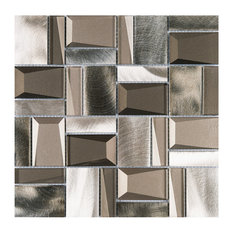 """11.75""""x11.75"""" Lenox Mixed Mosaic Tile Sheet, Rolling Brown and Copper"""