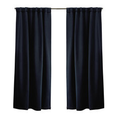 Sateen Blackout Hidden Tab Window Curtain Panel Pair, 52x96, Peacoat Blue