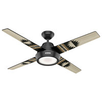 "Hunter Fan Company 54"" Pendleton Ceiling Fan With LED Light/Remote, Matte Black"