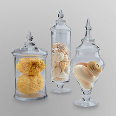 Essential Home 3 Piece Glass Apothecary Jars Bathroom Canisters