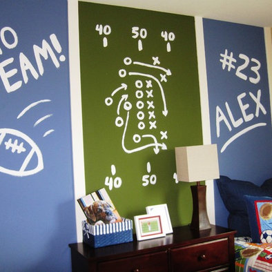 Boy room idea football decorations for boys room for Sports themed bathroom decor