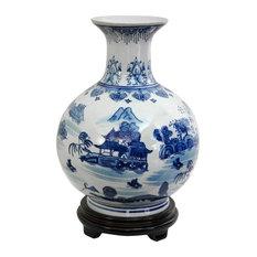 """12"""" Landscape Blue and White Porcelain Vase"""