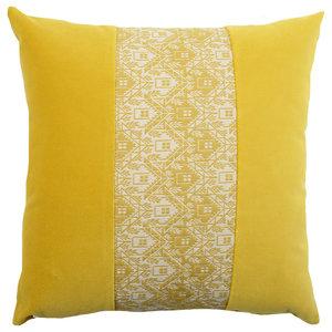 Yellow Velvet Pattern Cushion