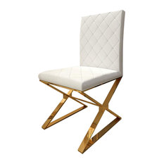 Modern Upholstered White PU Leather Dining Chair Set of 2 Stainless Steel Gold