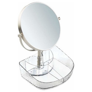 Modern Vanity Organizer in Plastic with Rain Drop Pattern and Rounded 3X Mirror