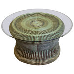 DNA Baskets - Sweetgrass and Bulrush Coffee Table - Your livingroom will truly dazzle with this one-of-a-kind, made to order, handmade, Gullah sweetgrass coffee table. It's made from 4 all natural material, sweetgrass, bulrush, long leaf pine needles and palm leaves. There is a 33 1/2 inch round glass table top included with purchase.